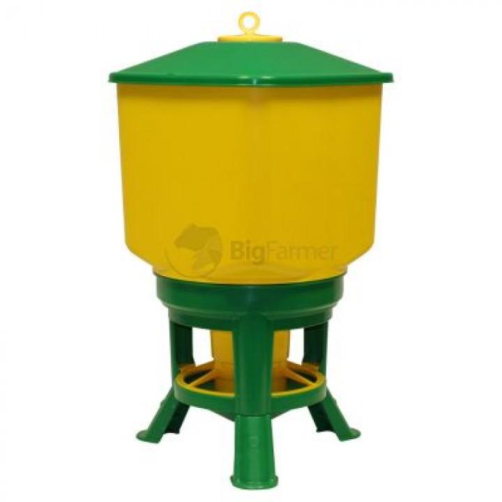 Кормушка бункерная Kubic Premium 35 кг пластик с разд. решеткой на ножках
