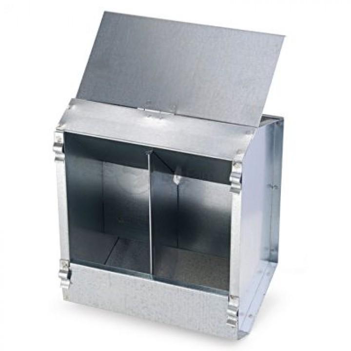 Кормушка бункерная для кроликов 2 секц. металл 190 мм без крышки