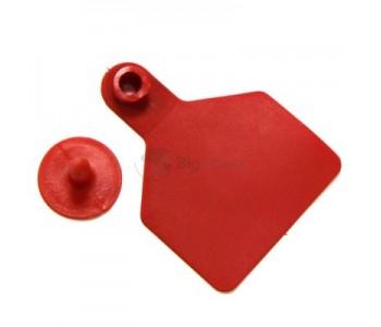 Бирка ушная двойная красная большая