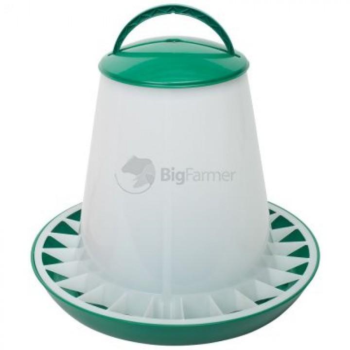Кормушка бункерная 10 кг пластик с разделительной решеткой зеленая