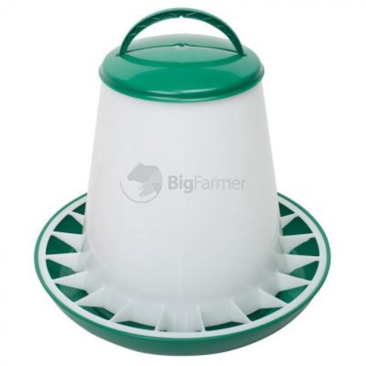Кормушка бункерная 6 кг пластик с разделительной решеткой зеленая