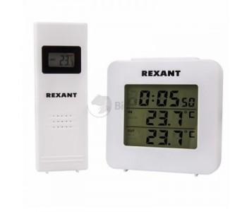 Термометр электронный с часами и беспроводным выносным датчиком REXANT